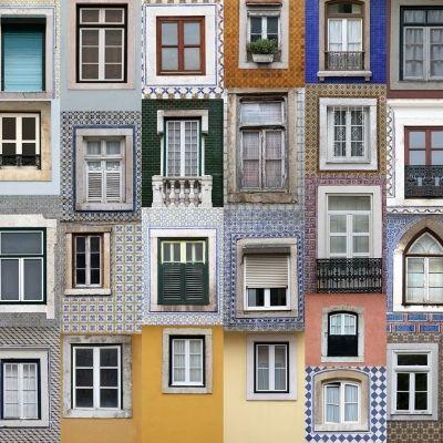 Bygning i Portugal med forskellige fliser